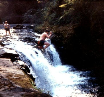 Jumping Off of Lower Punchbowl Falls